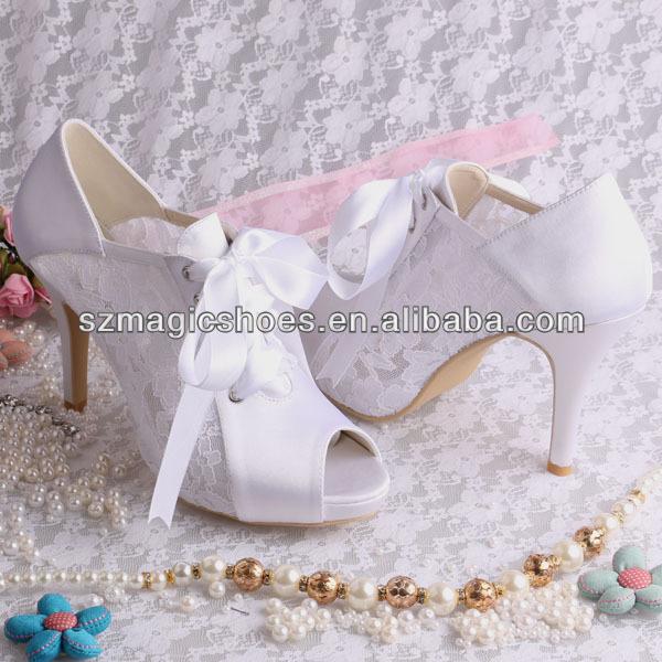Wedopus Ribbon High Heels Lace Wedding Shoes Platform Elegant Bridal Boots Ankle Peep Toe
