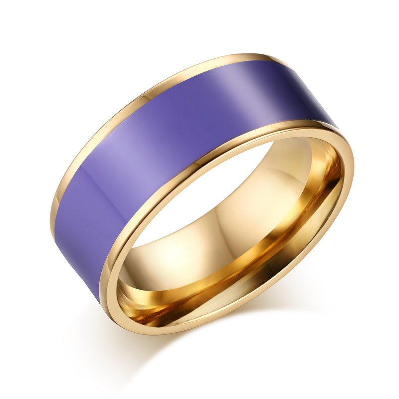 Korean Style Jewelry Women Rings 18k Gold Plated Enamel Colorful Stainless Steel Ring(China (Mainland))