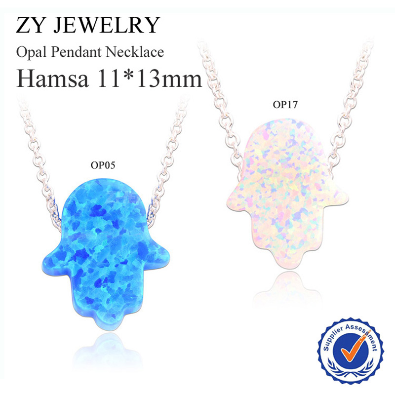 Buy 5PCS Get 1 Free!! 2015 New Fashion Jewelry Silver Plated OP05/OP17 Hamsa Opal Necklace For Gift(China (Mainland))