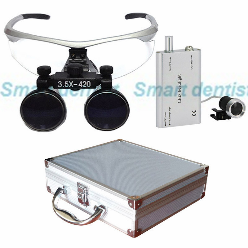 2016 Metal box 3.5X times enlarger dental amplify operate loupe led head light operating magnifier surgical amplification(China (Mainland))
