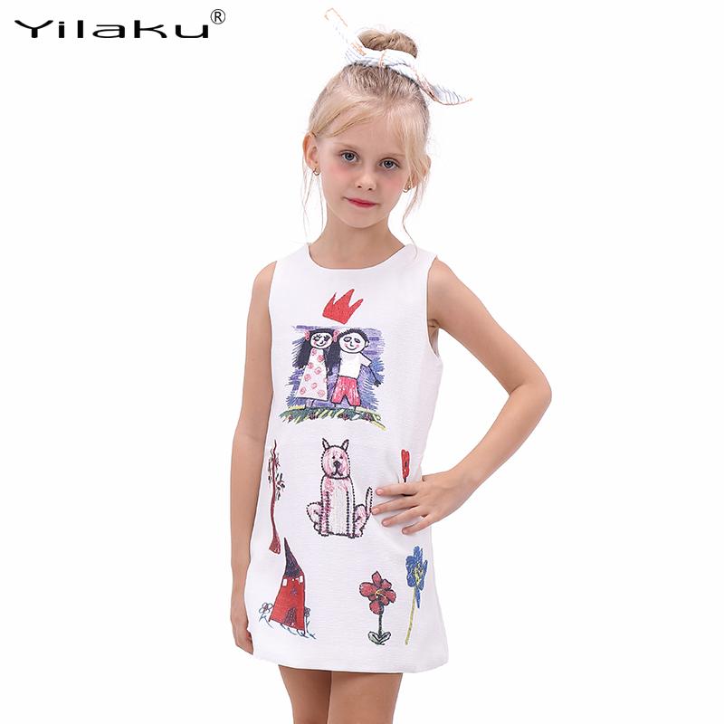 Little Girls Dresses Summer Children A-Line Princess Dress Character Pattern Dress for Girls Sundress Kids Costumes CA332(China (Mainland))