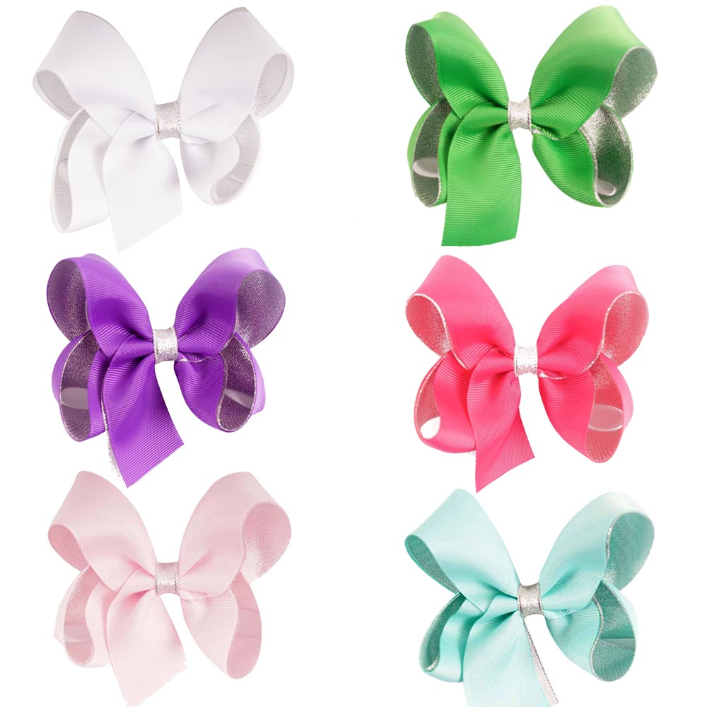 "30 Pcs/lot 4.5"" New Handmade Solid Grosgrain Ribbon Sliver Two Layers Glitter Hair Bow For Kids Girls Baby Hair Accessories(China (Mainland))"