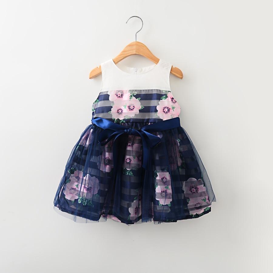 Hu Sunshine wholesale New 2016 Girls summer dresses floral vest striped print  leisure dress<br><br>Aliexpress