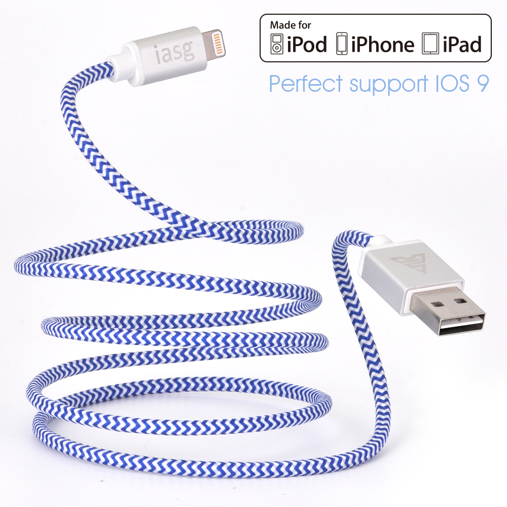 [MFi certified] iasg braided for lightning iphone charger cable with reversible USB for iPhone5s 6 6s 6 plus iPad Pro Air -1M(China (Mainland))