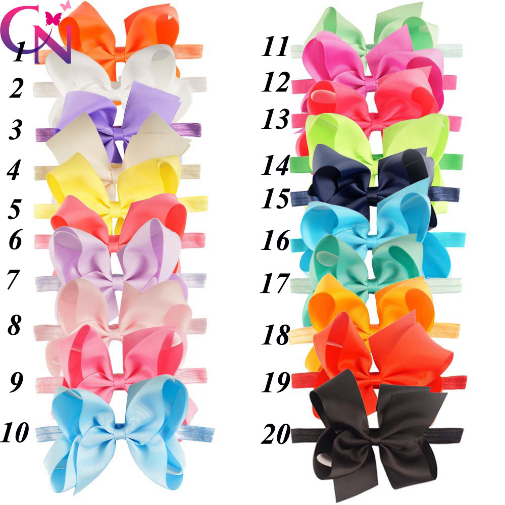 40 Pcs/lot New Fashion Handmade Boutique Solid Ribbon Bow Headband For Baby Girls Toddler Plain Headband Hair Accessories(China (Mainland))