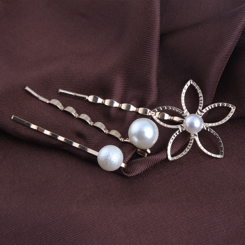 3PCS Gold Hollow Flower Hair Clips Wholesale Pearl Bobby Pins Set Women Hair Accessories HG321(China (Mainland))