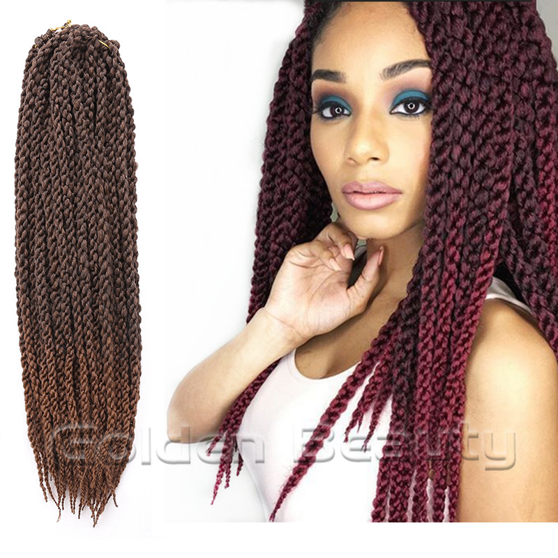 Crochet Box Braids Review : 3D Cubic Twist Braiding Hair Extension 22inches Ombre Crochet Braid ...