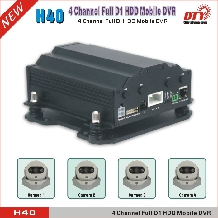 HDD MDVR with sim card tracking 3g gps tracker, ce fcc rohs h.264 4ch truck dvr, H40-3G&GPS(China (Mainland))