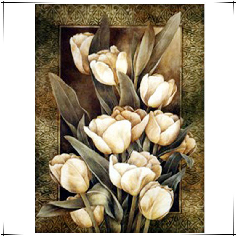 DIY Diamond Painting of flowers European and American Style 3D dimensional Embroidery <font><b>elegant</b></font> Series <font><b>Home</b></font> <font><b>Decor</b></font> Needle Craft