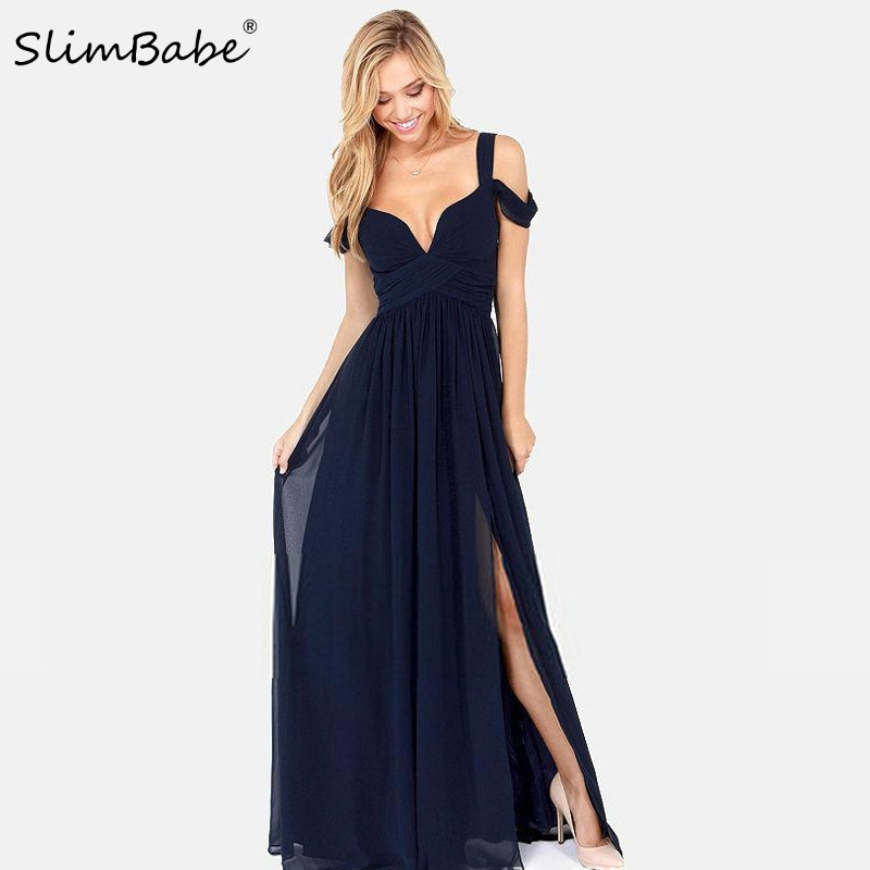 Slimbabe 2017 Fashion Summer Floor Length Solid Dinner Sexy Dress Side Slit V Neck Off Shoulder Female Gown Dres Night Club Wear(China (Mainland))