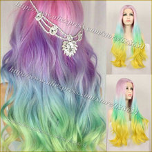 Long Synthetic Wigs Colorful Pastel Rainbow Wig Ombre Pink Blue Green Yellow Long Synthetic Ombre Lace Front Wig Heat Resistant