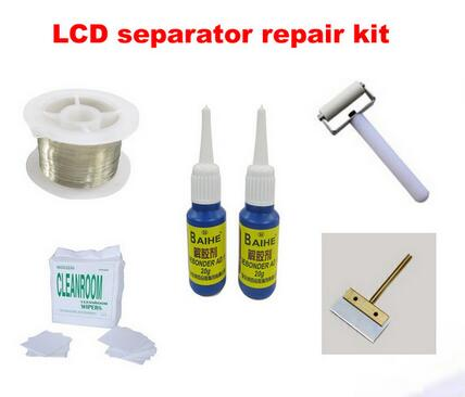 Free shipping !! LCD touch screen separator Machine repair kit, roller+cutting wire+dust free cloth+glue scraper+dispergator(China (Mainland))