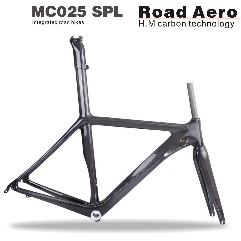 Promotion Integrated seat post road carbon frame, 3K carbon road frame BSA, 55CM full carbon bike frame fork China(China (Mainland))
