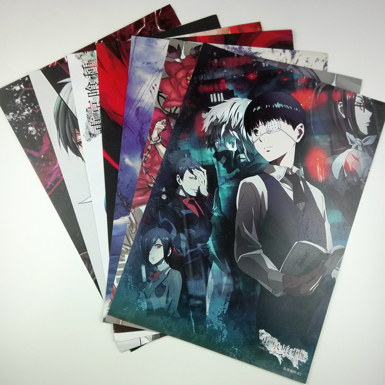 8*(42x29cm)Tokyo Ghoul Anime around poster Wall decoration Wall Sticker birthday gift Cartoon Pictures(China (Mainland))