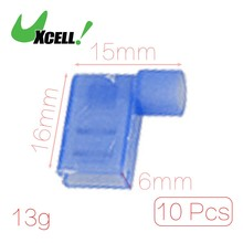 Buy UXCELL Pack Size (L*W*H) 10 Pcs Blue Full Insulated Female Spade Crimp Flag Connector Terminal Fldny 2-250 1 10 14 x for $1.43 in AliExpress store