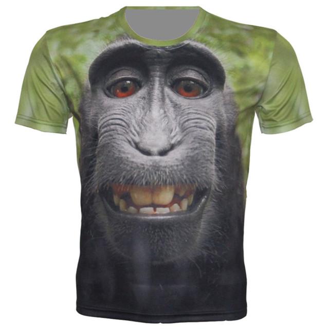 Лето 2016 новых 3D футболки мужчины / женщины забавные животных лошадь обезьяна череп цветок печать футболки мужская хип-хоп топы тройник BM027