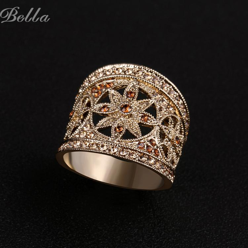 Vintage Fashion Jewelry Gift Wholesale 18K Real Gold plated Rhinestone Rings For Women Six flower Hollow out jewelry (KA0004)(China (Mainland))