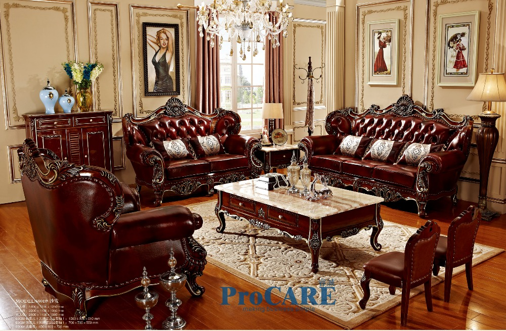 3 different sets red solid wood genuine leather sofas set for Living room table sets for sale