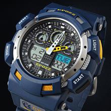 EPOZZ New Arrival Super 10ATM  Brand Men Military Sports Watches Dual Time Quartz Digital Watch Rubber Band Wristwatches