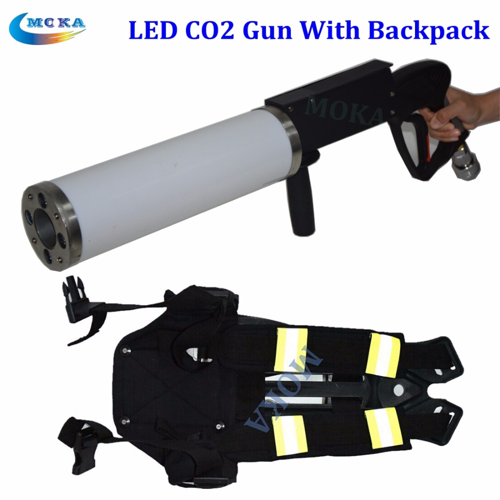 Handheld Led co2 gun cryo CO2 Jet Pistol Special Effects co2 Cannon guns with 1pcs BackPack with belt(China (Mainland))