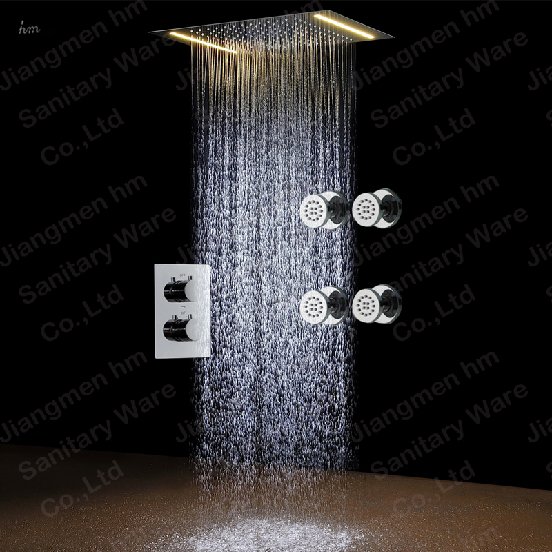 Bathroom shower stall polished led rainfall shower head set with copper showers body jet shower bath units rectangle headshower(China (Mainland))