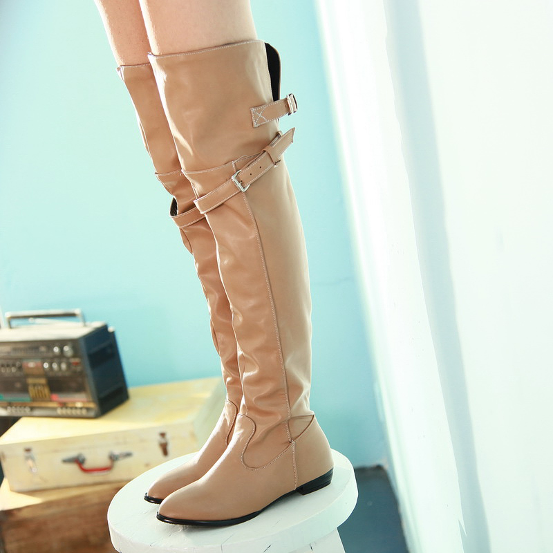 High-quality Women Over Knee Boots Short Plush Pointed Toe 2.5cm Square Heels Fashion Black Brown Beige Shoes Woman Size 4-13