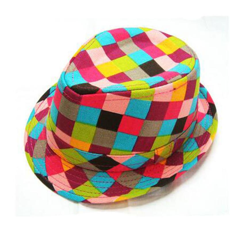 2016 New Kids Jazz Caps Multi Style Colorful Grid Wide Brim Cotton Fedoras Fashion Summer Panama Hats For Boy SACF1192(China (Mainland))