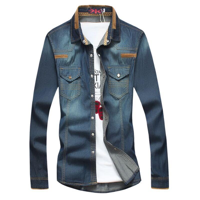 NEW ARRIVAL Autumn Casual Solid denim shirt Slim Men long-sleeved Turn-down Collar shirt Korean plus size 5XL male shirts()
