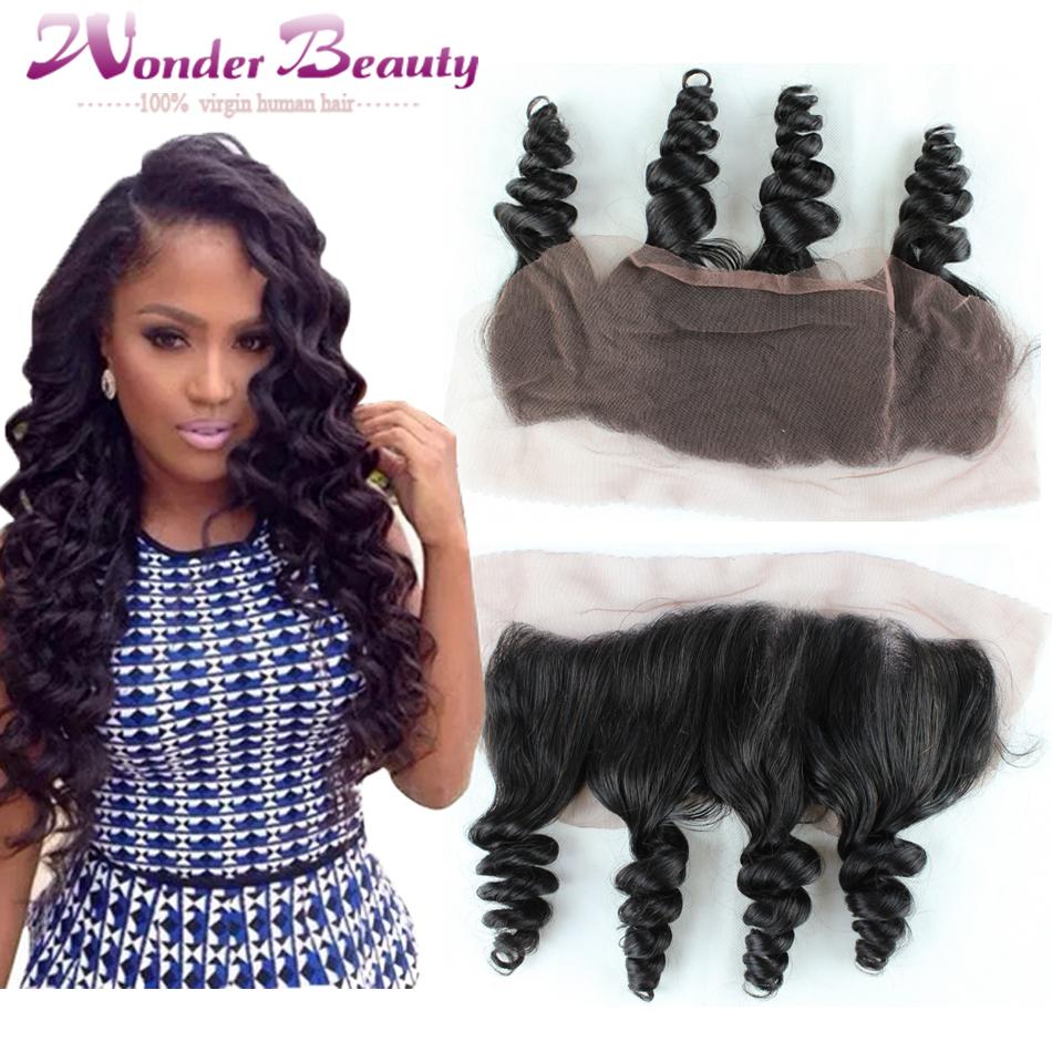 Фотография High Quality Human Hair Peruvian Virgin Hair 13x4 Lace Frontal Closure 1pc Loose Wave Free Part Natural Color Free Shipping