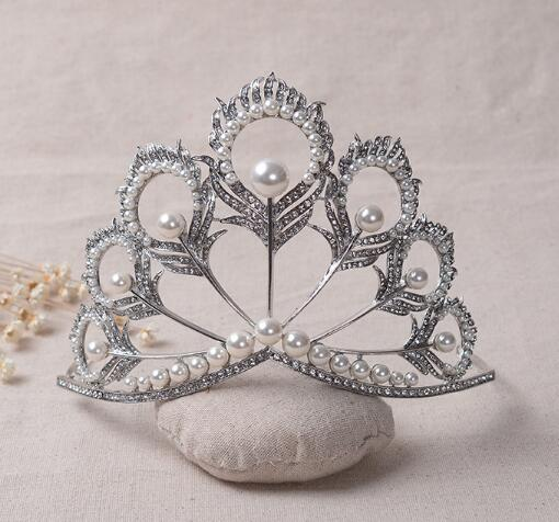 Chic Crystal Tiara Vintage Peacock Bridal Hair Accessories For Wedding Quinceanera Tiaras And Crowns Pageant Pearls Headband(China (Mainland))