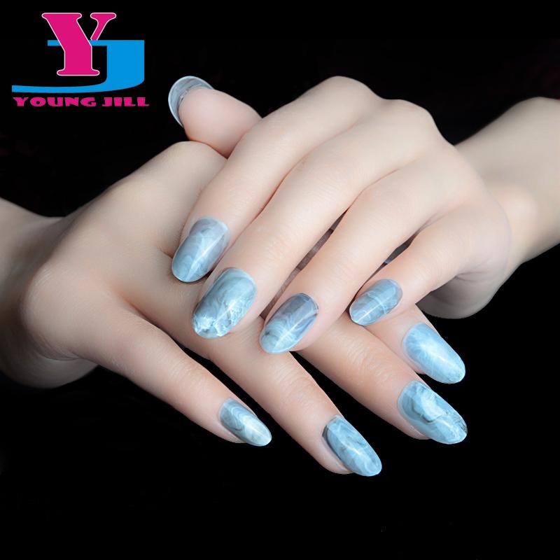 New Fashion Oval Full Cover False Nails Pre Design Nail Tips High Quality UV Gel Grey Hot Sale Acrylic False Nail Tips 24pcs/set(China (Mainland))