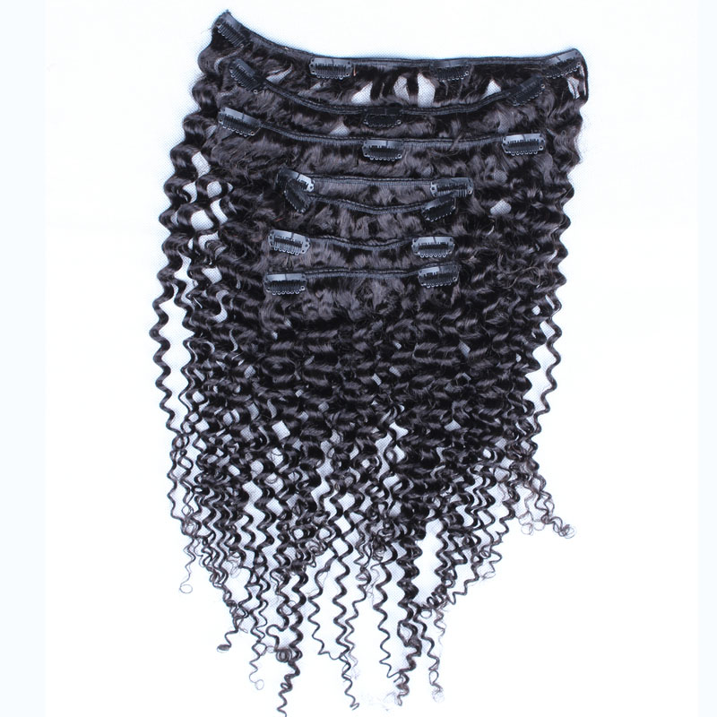 Kinky Curly Clip in Human Hair Extension 7Pcs/Lot  Clip Ins Curly Hair Extension African  American Clip in Human Hair Extension<br><br>Aliexpress