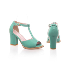 Buy 2016 summer Simple Women Shoes T-buckle strap solid color Square heel Open-toed sandals med heel Soft leather size 34-39 T860 ) for $23.46 in AliExpress store