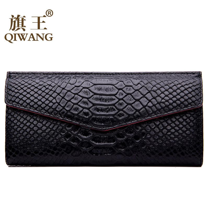 Qiwang Long Python Purse Wallet Bag Women Black  2016 Luxury Brand  Snakeskin Genuine Leather Women H Purse Card Holder Clutch<br><br>Aliexpress