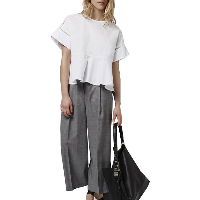 Женская мода выдалбливают дизайн коротким рукавом о шеи блузка кнопку назад белые ...