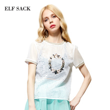 Buy Elf SACK rose summer royal slim all-match fashion organza lace pullover short-sleeve shirt female p for $17.99 in AliExpress store
