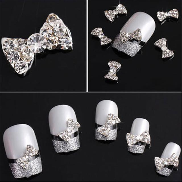 100pcs/lot 3D Clear Alloy Rhinestones Bow Tie Nail Art Decorations Glitters Slices DIY Nail Stud Make Up Tips