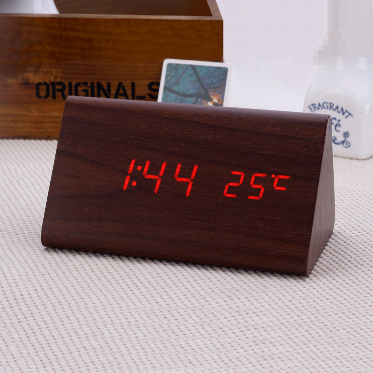 Modern Exquisite Wood clocks,Wooden unique digital temperature controller LED Voice desk Alarm Clock despertador antigo(China (Mainland))