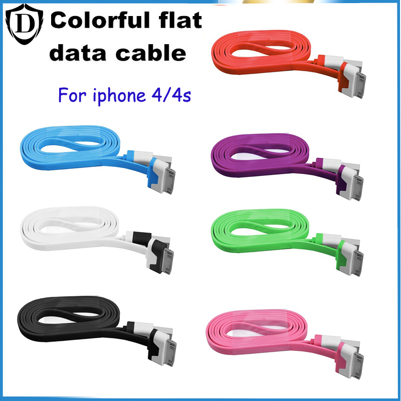 Colorful USB Cable Micro USB 1/2/3m Flat Noodle USB Data Sync Charge Cable fit iphone 4/4s Supports maximum data transfer speeds(China (Mainland))