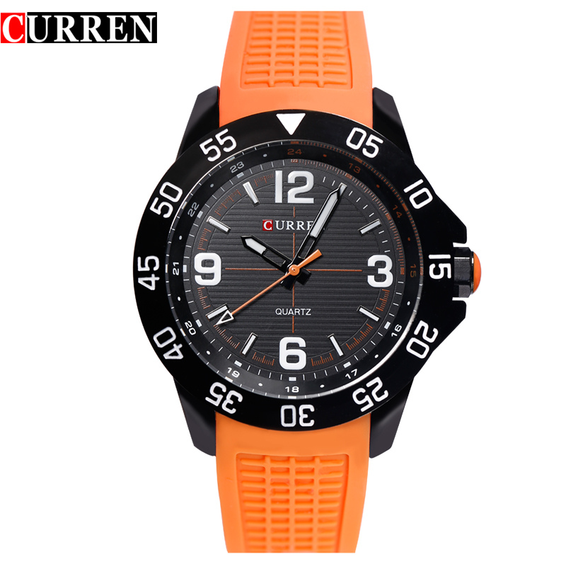 2016 CURREN Quartz-watch relogio masculino orange silicone band sports men's Quartz-watch clock military, with gift box 8181(China (Mainland))