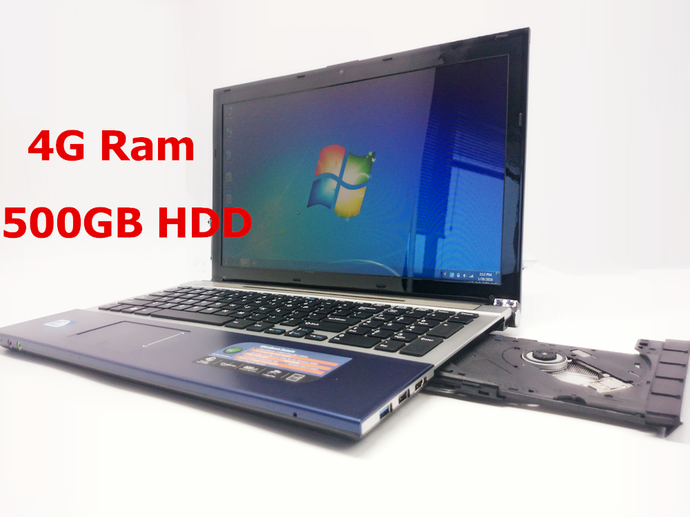 15 inch Gaming Laptop Notebook Computer Wtih DVD 4GB DDR3 Ram 500GB HDD in-tel celeron J1900 Quad Core 2.0Ghz WIFI webcam HDMI(China (Mainland))