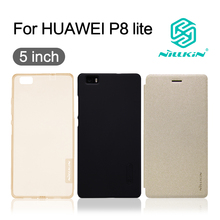 cover for huawei p8 lite Nillkin Flip Cover Case PC hard plastic back csae soft TPU silicon phone cover case 5'' for p8 lite
