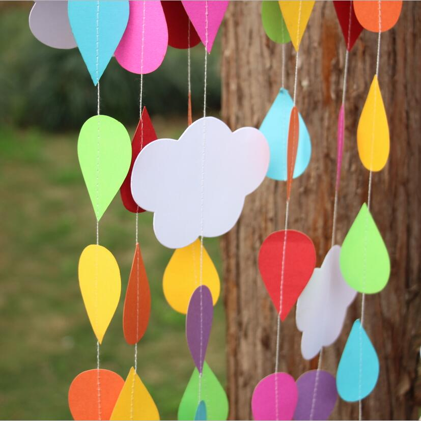 Waterdrop Rainbow Color with cloud Creative Party Festivsal celebration Paper Garland(China (Mainland))