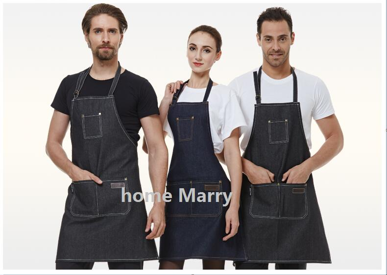 Hot sale coffee shop restaurant Manicure beautyhigh quality cowboy Halter apron and cleaning work jeans apron(China (Mainland))