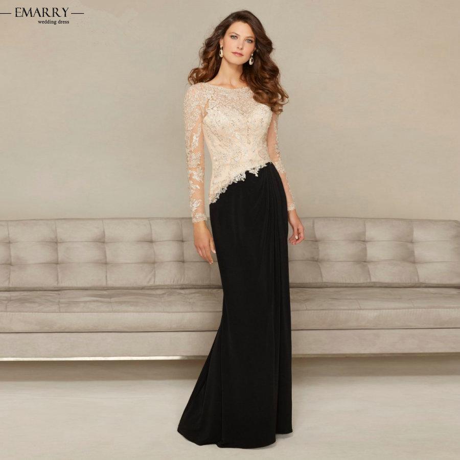 С длинным рукавом черного атласа мать невесты платья 2016 дешевые длинные мать невесты платья ну вечеринку платья ZZ475