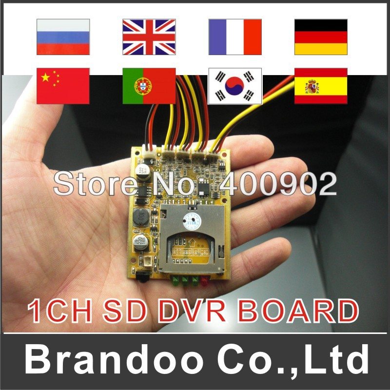 mini size DVR main board for any case, alarm trigger recording video by SD card memory,D1 DVR module(China (Mainland))