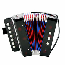 Mini 7-Key Accordion Durable 2 Bass Accordion Educational Musical Instrument Toy for Amateur Beginner Best Gift Black(China (Mainland))