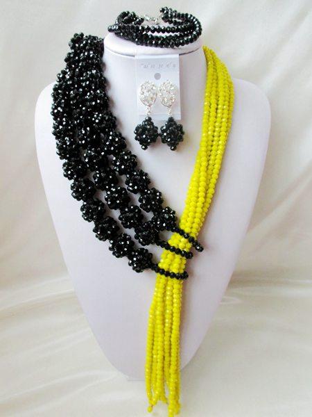 NEW nigerian weddin Black africanbeads jewelry Set Crystal beads bride jewelry  R-2429<br><br>Aliexpress