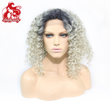 Cheap Ombre Synthetic Lace Front Wig 1b/grey Heat Resistant Hair Women Wigs Top Quality Glueless Hair Wigs