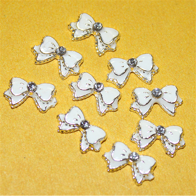 10pcs/pack White Alloy Bow Tie 3D Nail Art Rhinestone Decoration For DIY Nail Stud DIY Beauty Tips Nail Design Accessories